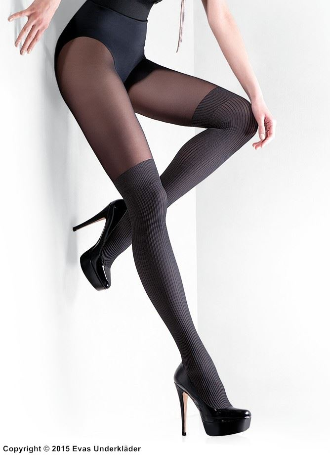 Stilfull strumpbyxa med stockings-imitation